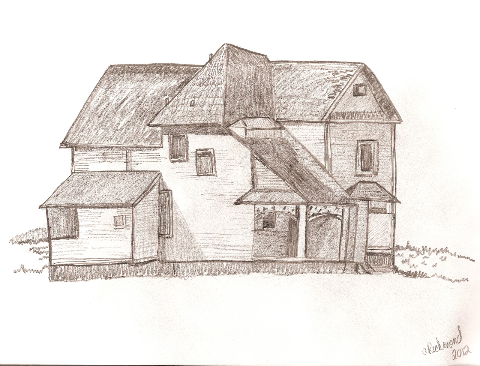 Creative every day drawing angie richmond for Drawings of a house